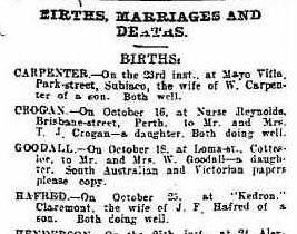Birth notice for B Goodall