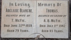Adelaide Blanche McFie nee Chapman & Thomas McFie West Tce Cemetery, Adelaide, South Australia