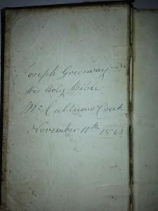 Bible of Joseph Greenway Snr