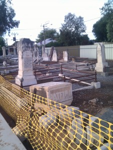 Cleared headstones at Payneham Cemetery
