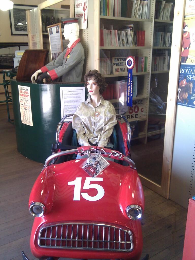 An old dodgem car and passenger