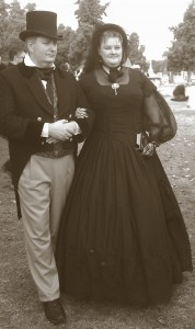 Mourners in 1880s costumes