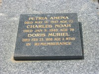 Petria Anena Wigley nee Hendricksen Charles Noah Wigley Doris Muriel Wigley Bendigo Cemetery