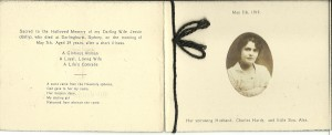 Funeral card for Jessie Melina Wigley